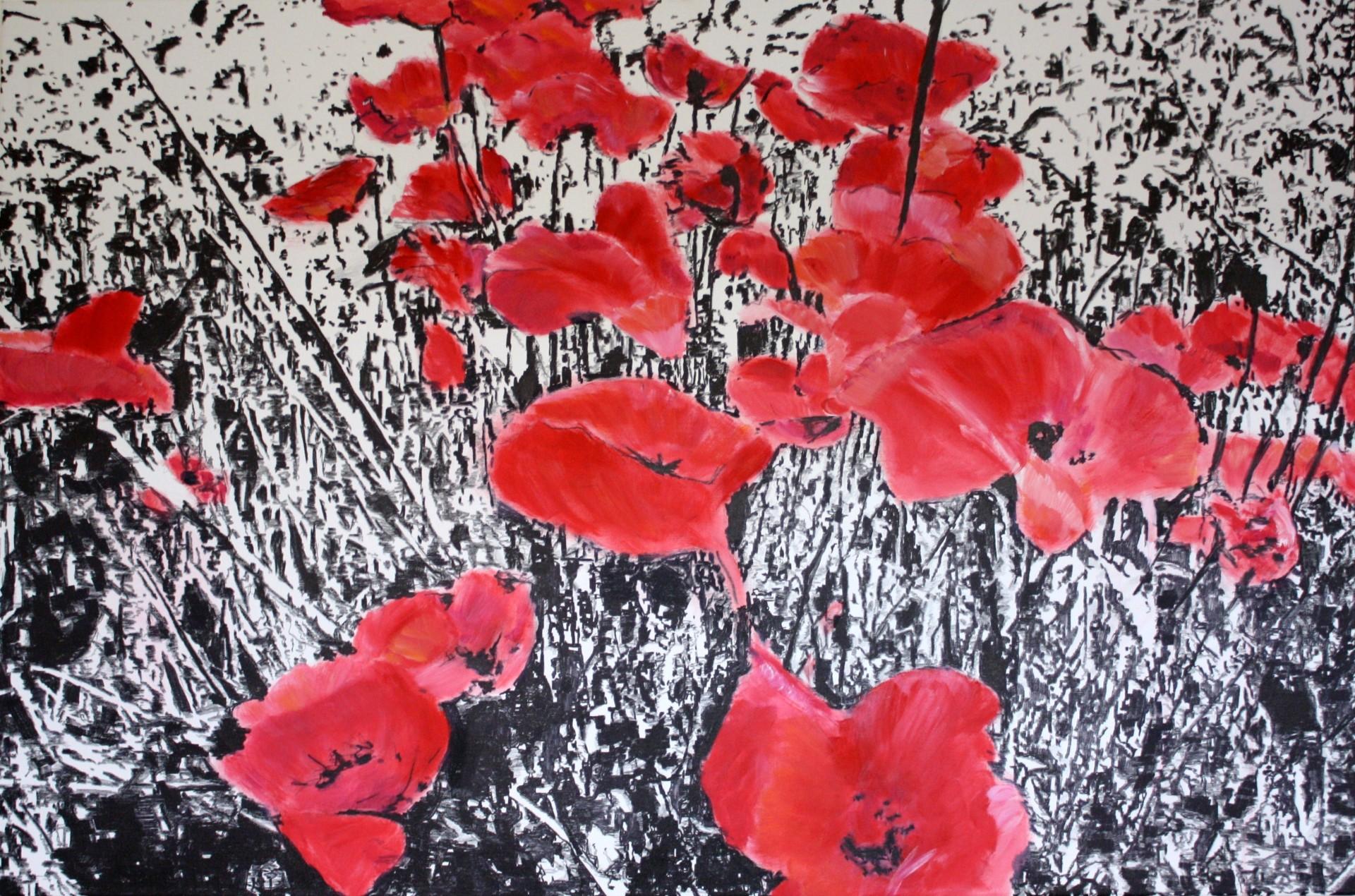 Flowers, 2013, Edding und Acryl auf Leinwand, 100 x 150 cm