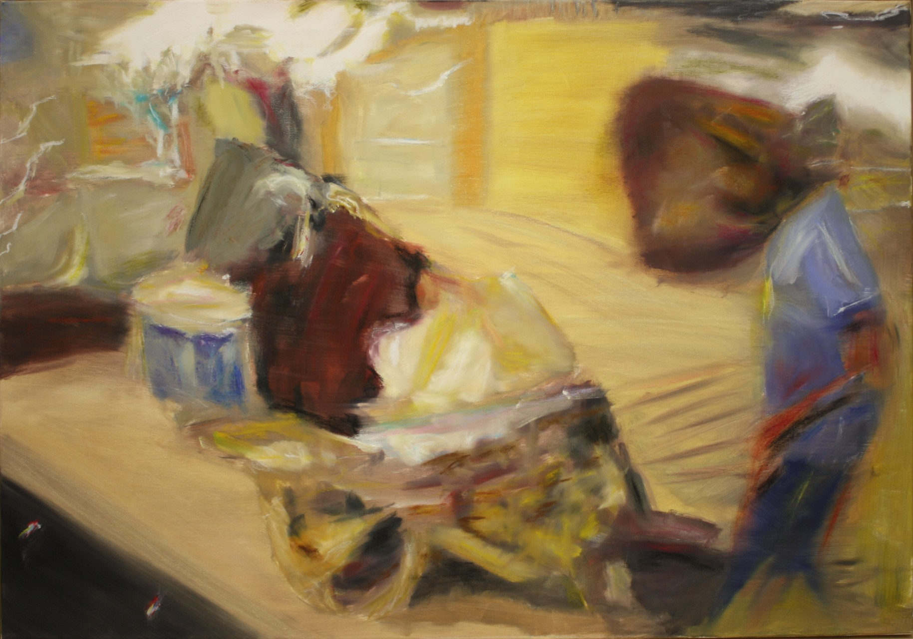 Rundu Man with a wheelbarrow, 2012, oil on canvas, 70 x 100 cm