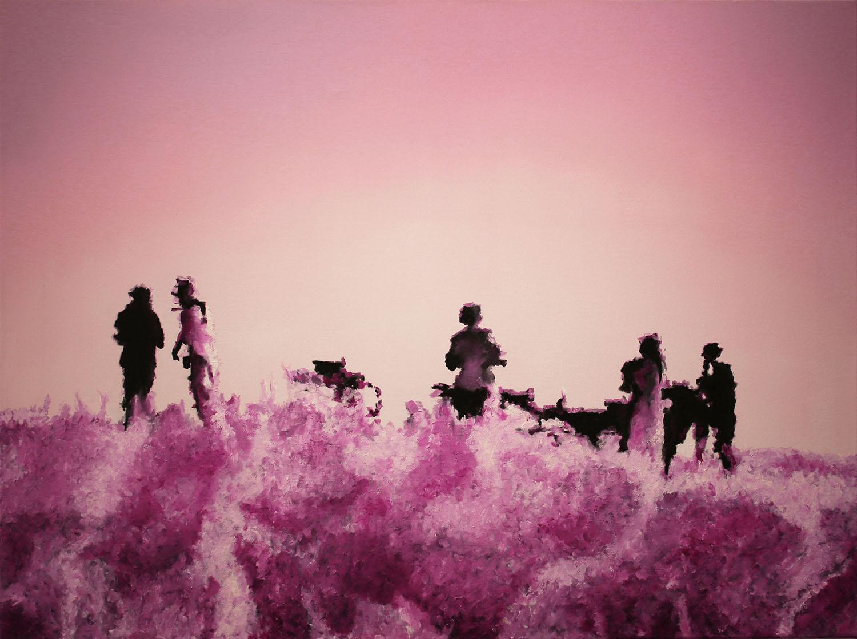 Pink Safari, 2017, Öl auf Leinwand, 90 x 120 cm