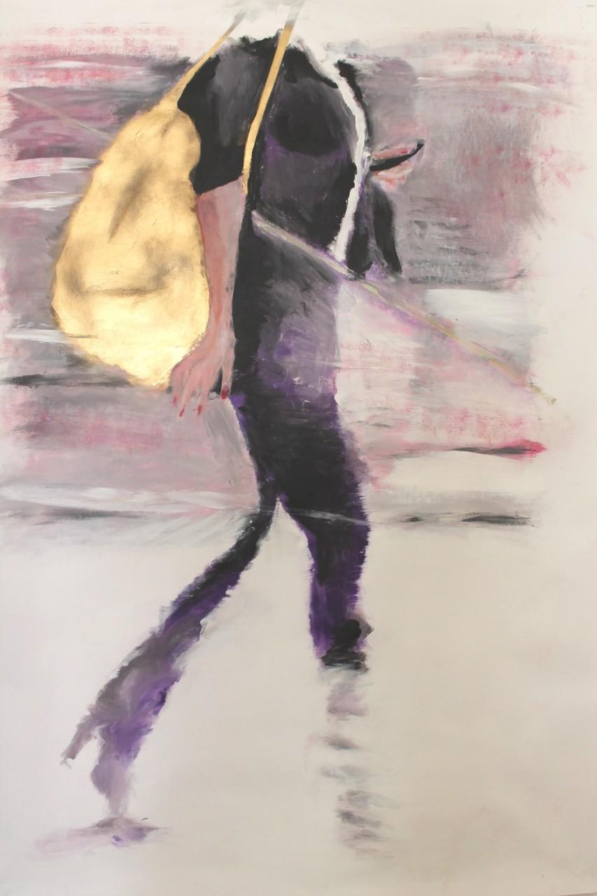 Schnelle Frau mit Goldbeutel, Öl auf Leinwand, 140 x 100 cm, 2015
