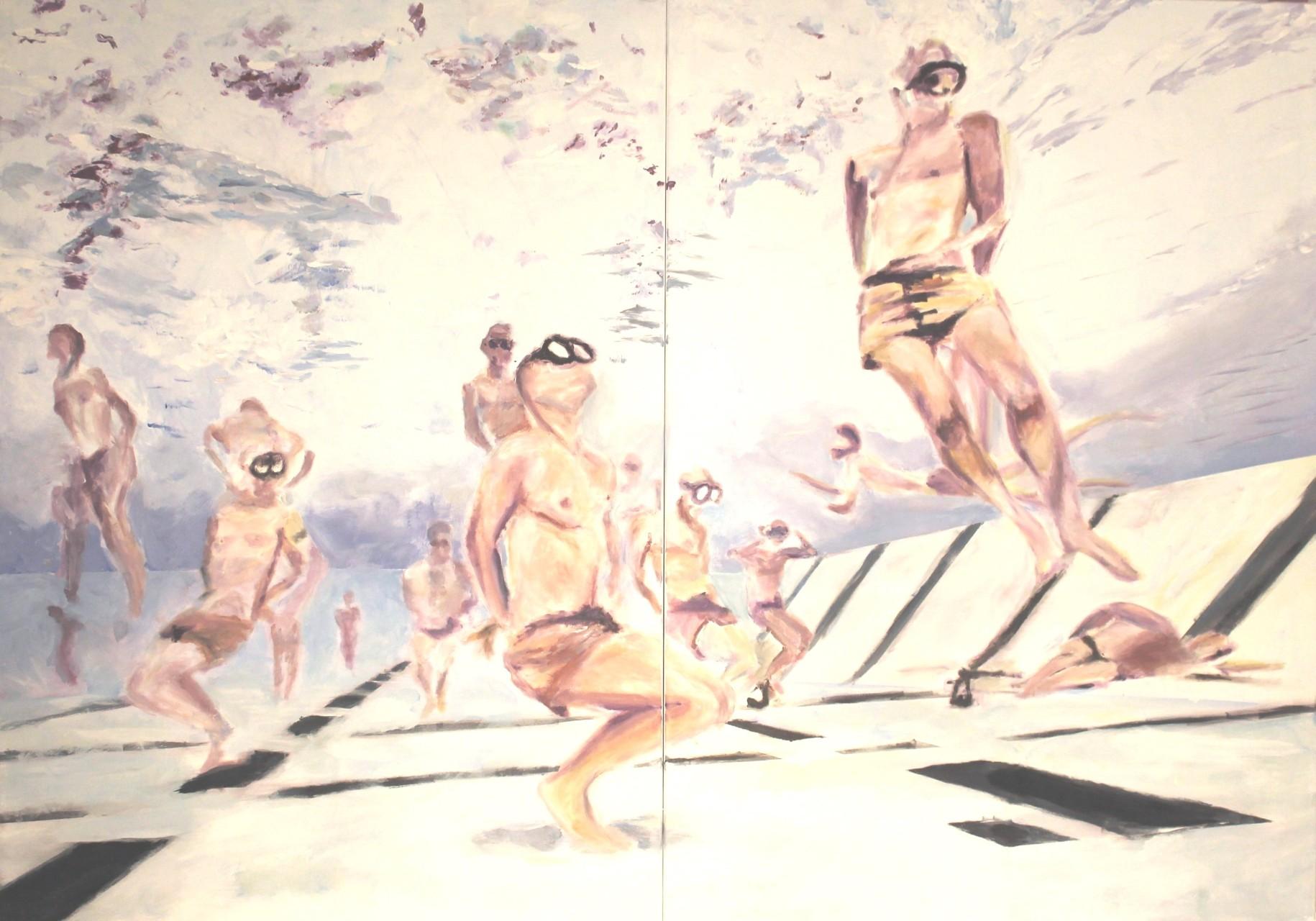 Submerged, 2015, Öl auf Leinwand, 140 x 200 cm, diptych.