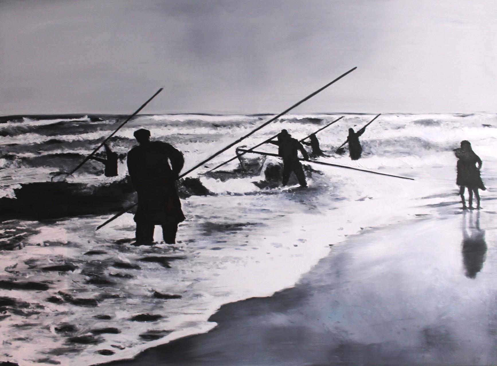 Bernsteinfischer, 2014, Öl auf Leinwand, 100 x 140 cm