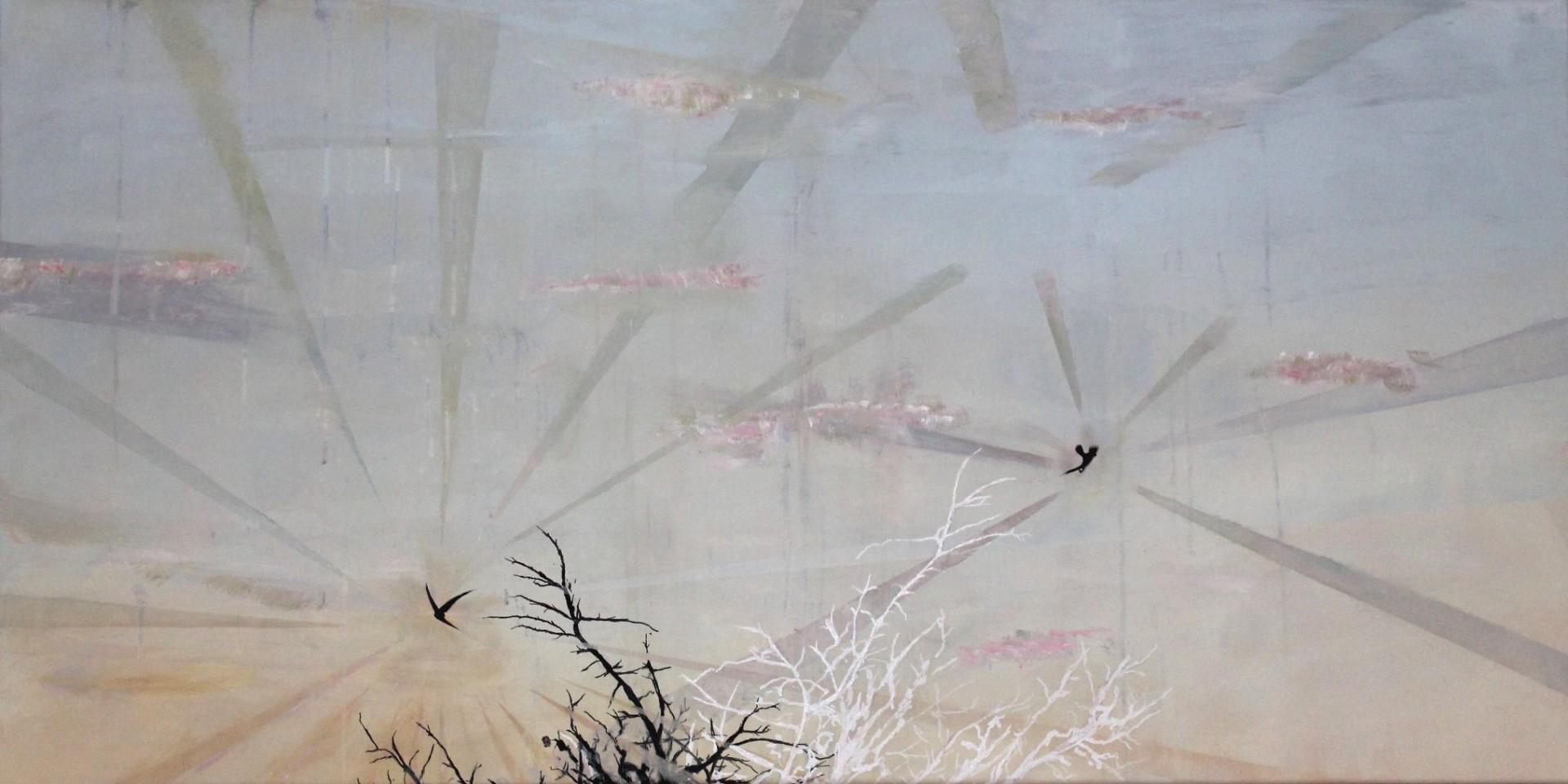 Two birds Africa, 2015, Mischtechnik auf Leinwand, 60 x 140 cm