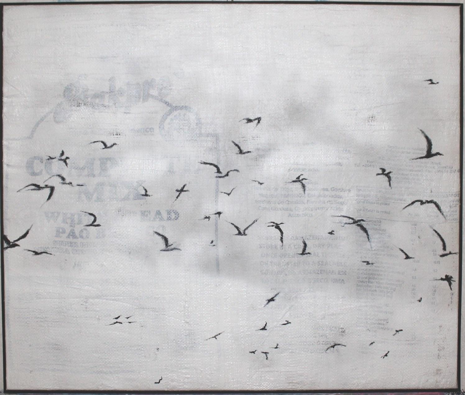 Zugvogelschwarm, 2015, Mischtechnik auf Kunststoff-Sackleinen, 80 x 95 cm
