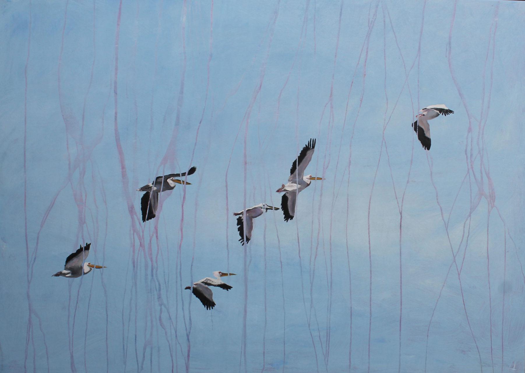 Pelicans, 2106, Mischtechnik, 100 x 140 cm