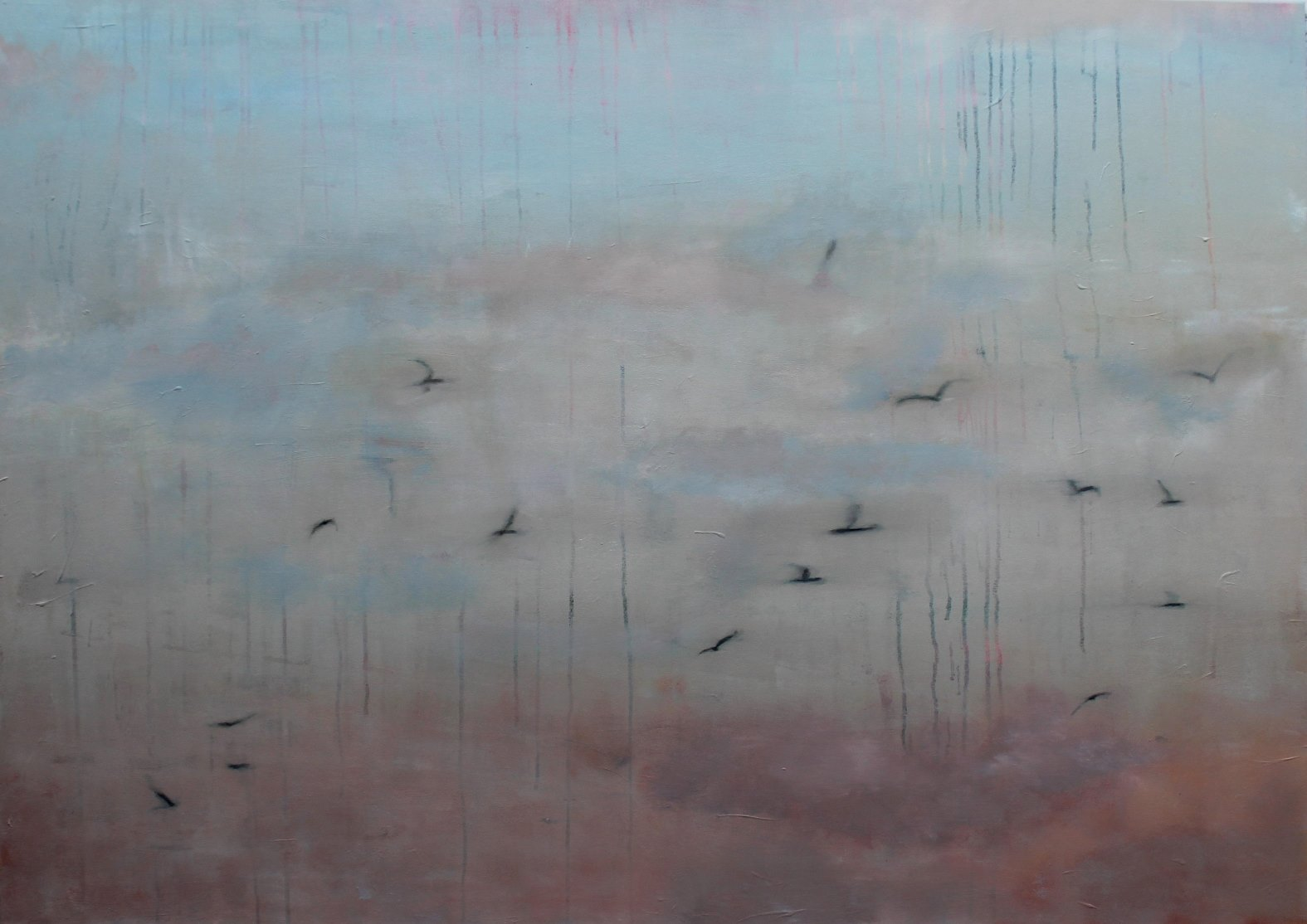 Vögel #1, 2015, Mischtechnik, 100 x 140 cm