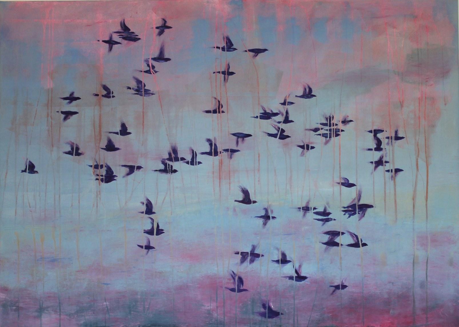 Birds Blues, 2015, Mischtechnik, 100 x 140 cm
