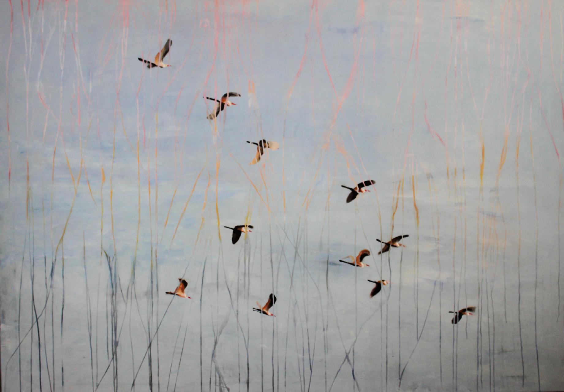 Vogelschwarm (2016) 200x140 Mischtechnik. Verkauft