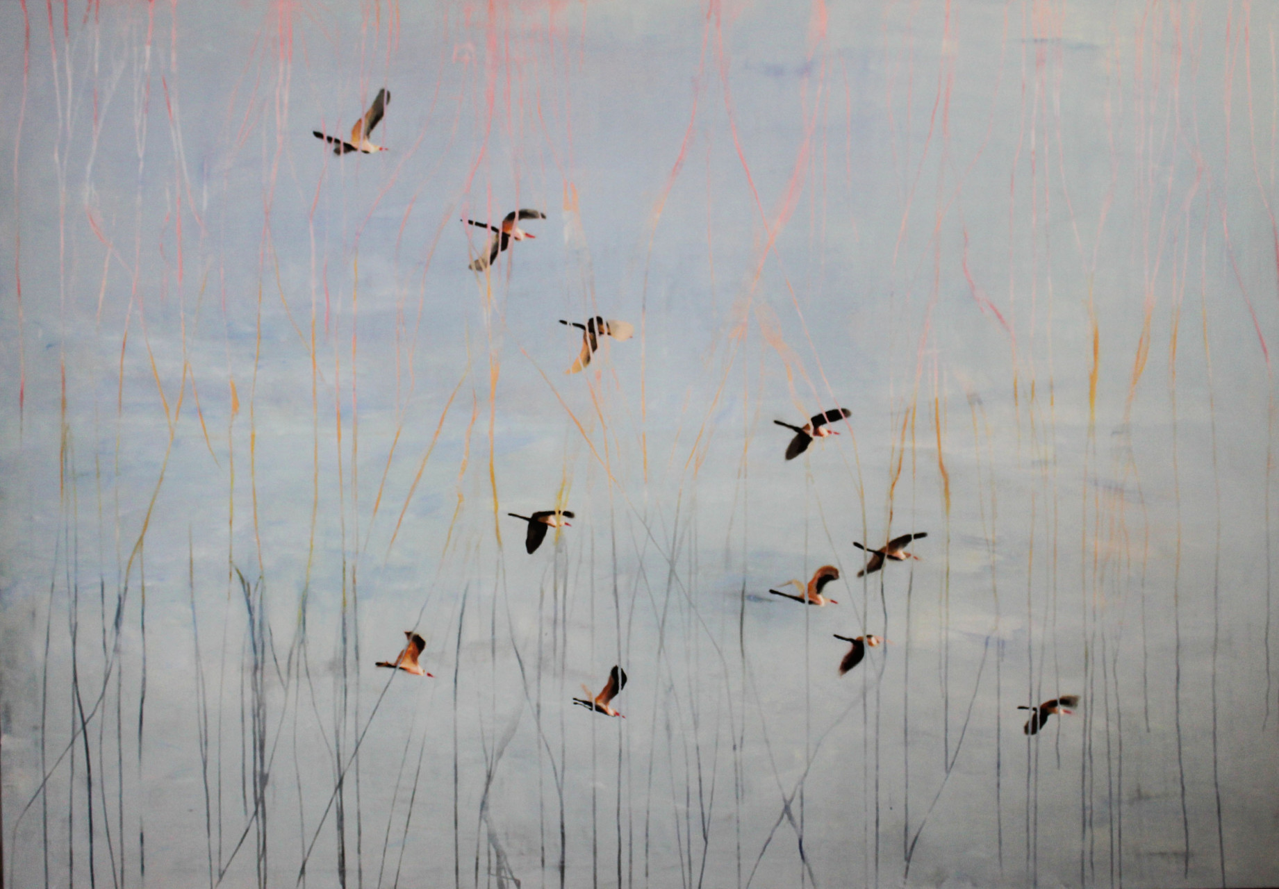 Vogelschwarm, 2016, Mischtechnik  140 x 200 cm. Sold