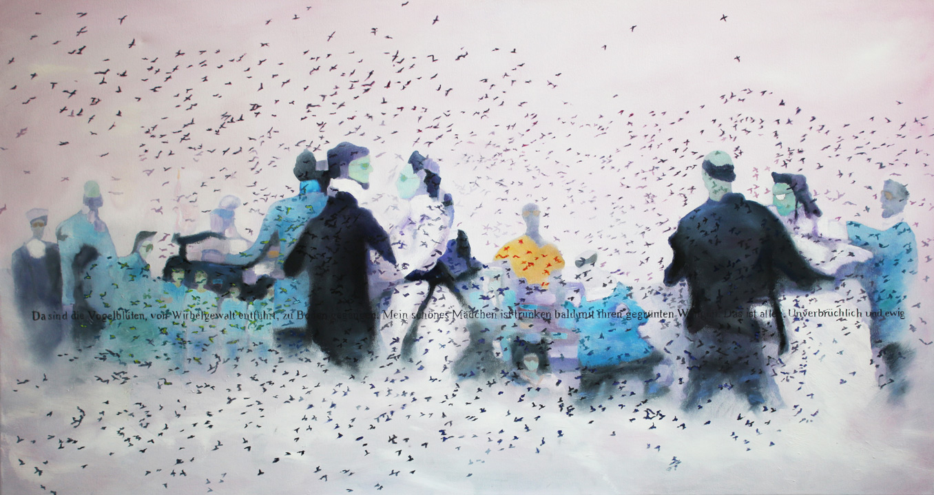 Cloud Fiesta, 2017, Öl auf Leinwand, 80 x 160 cm