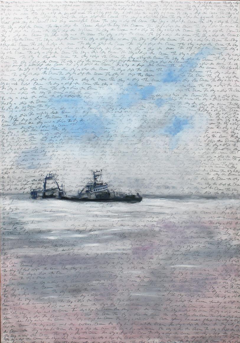 Dampfer, 2017, Bleistift und Öl auf Leinwand, 100 x 80 cm