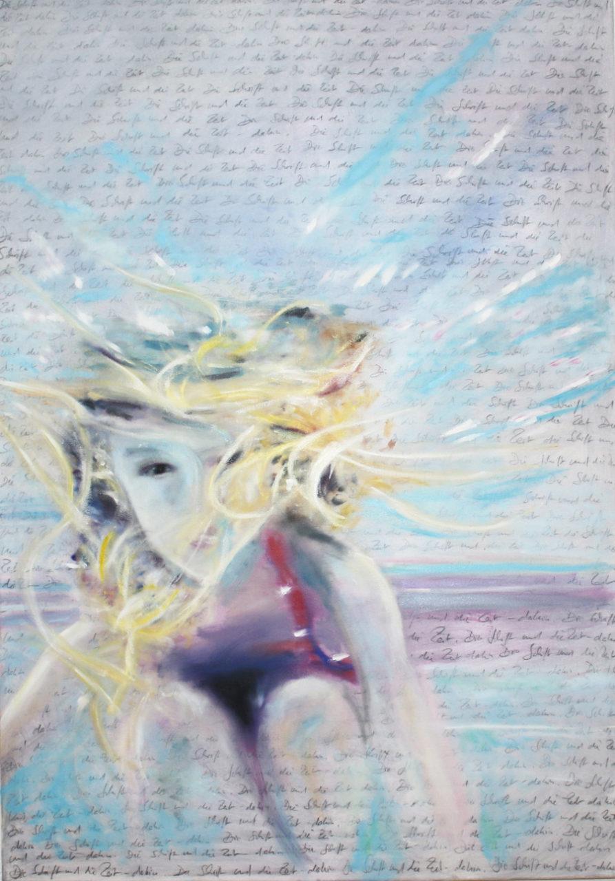 Dream Diver, 2017, 80 x 100 cm, oil and pencil on canvas