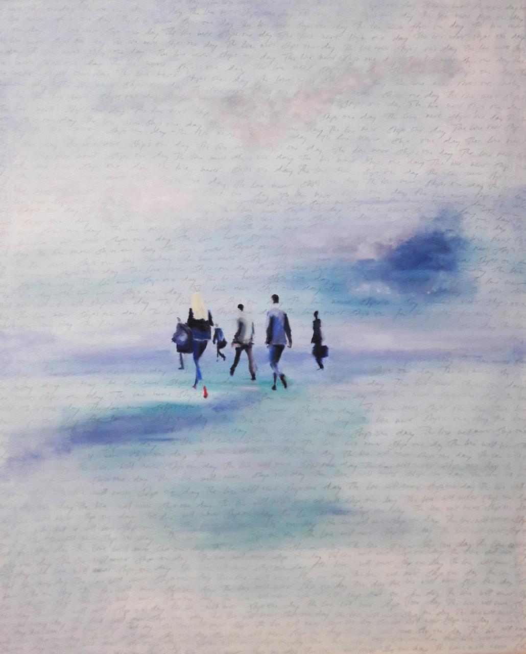 Passengers, 2017, Bleistift und Öl auf Leinwand, 100 x 80 cm
