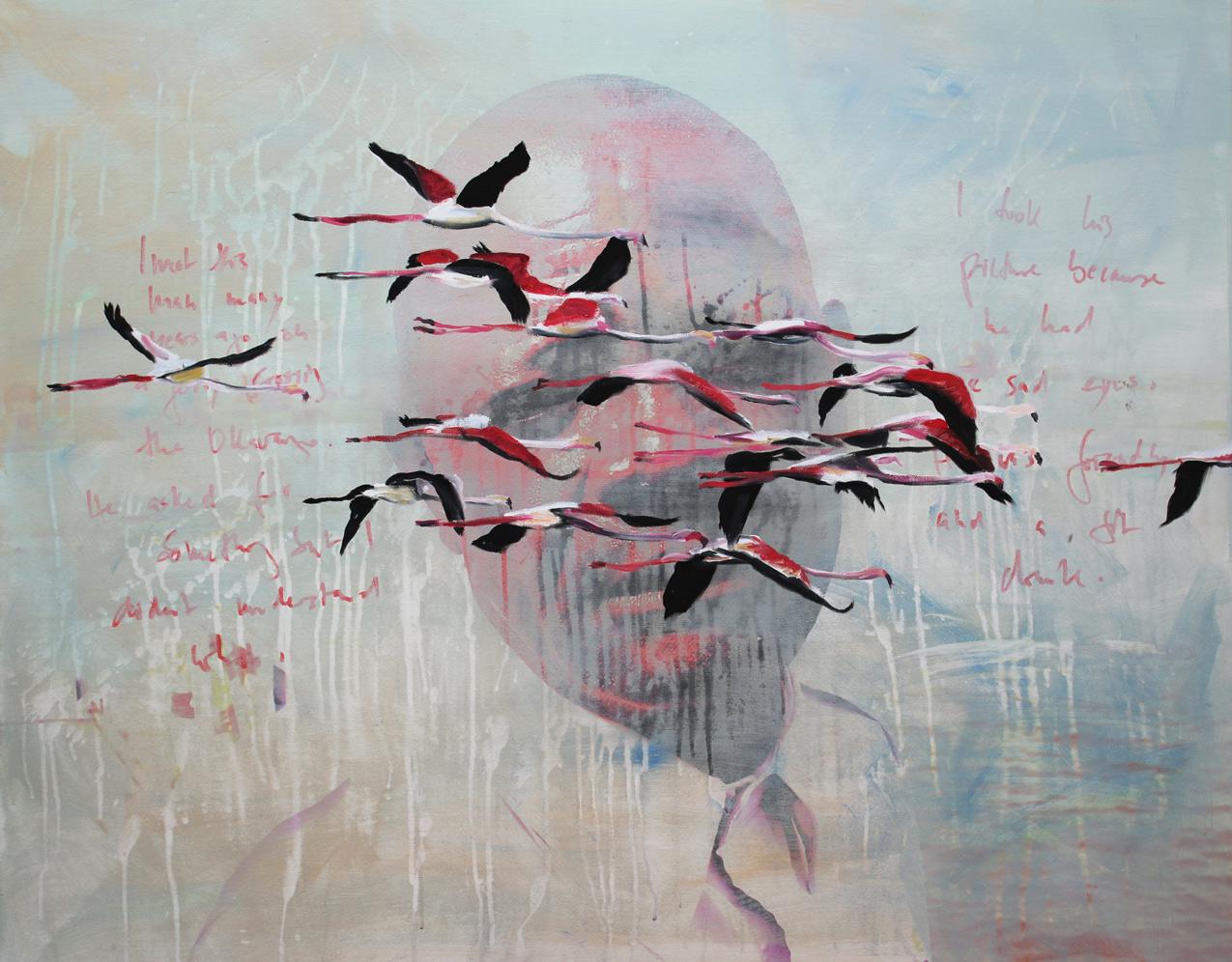 Phoenicopter Memories, 2018, Öl auf Fotodruck, 80 x 100 cm