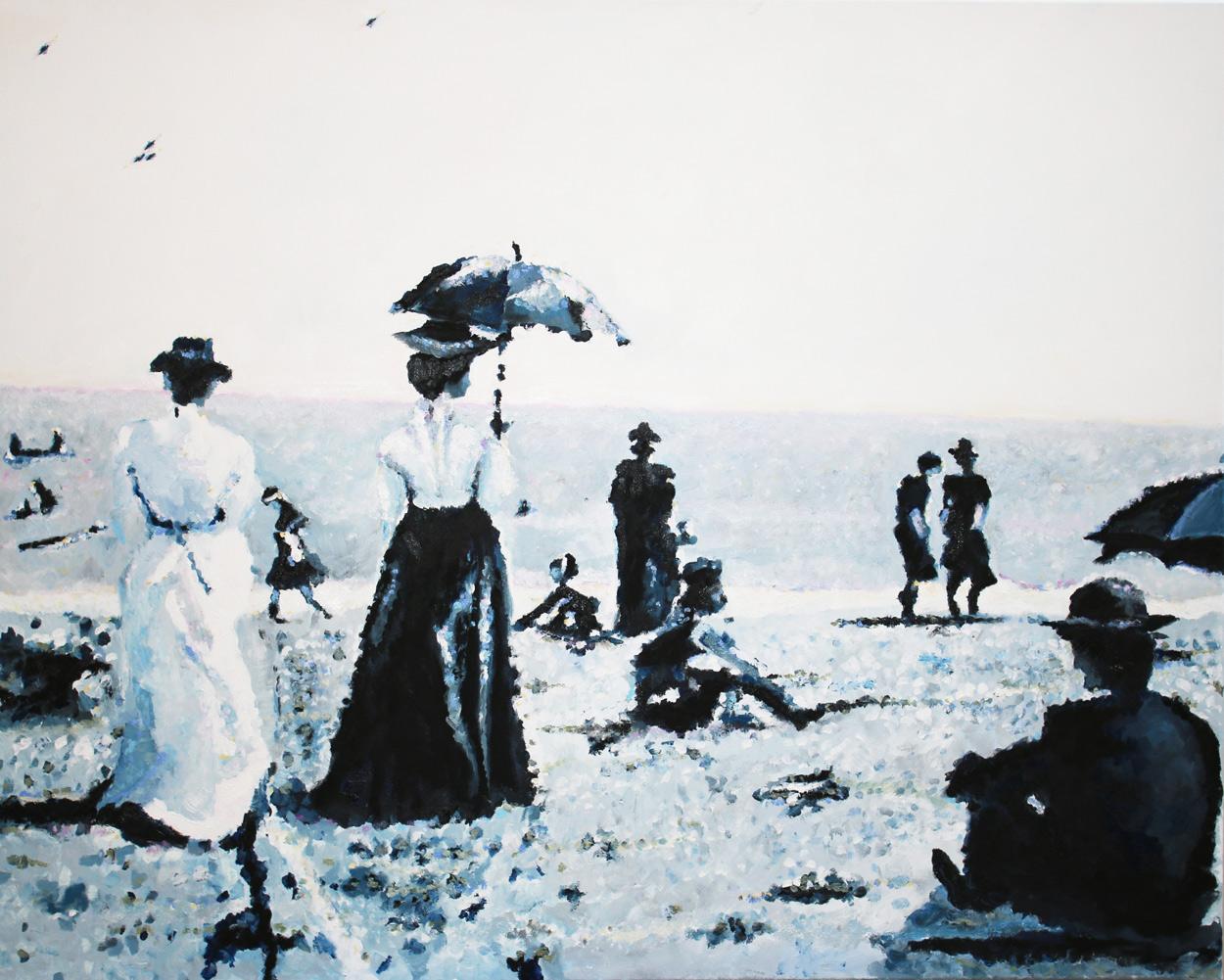 Mesdames sur Mer, 2018, oil on canvas, 80 x 100 cm
