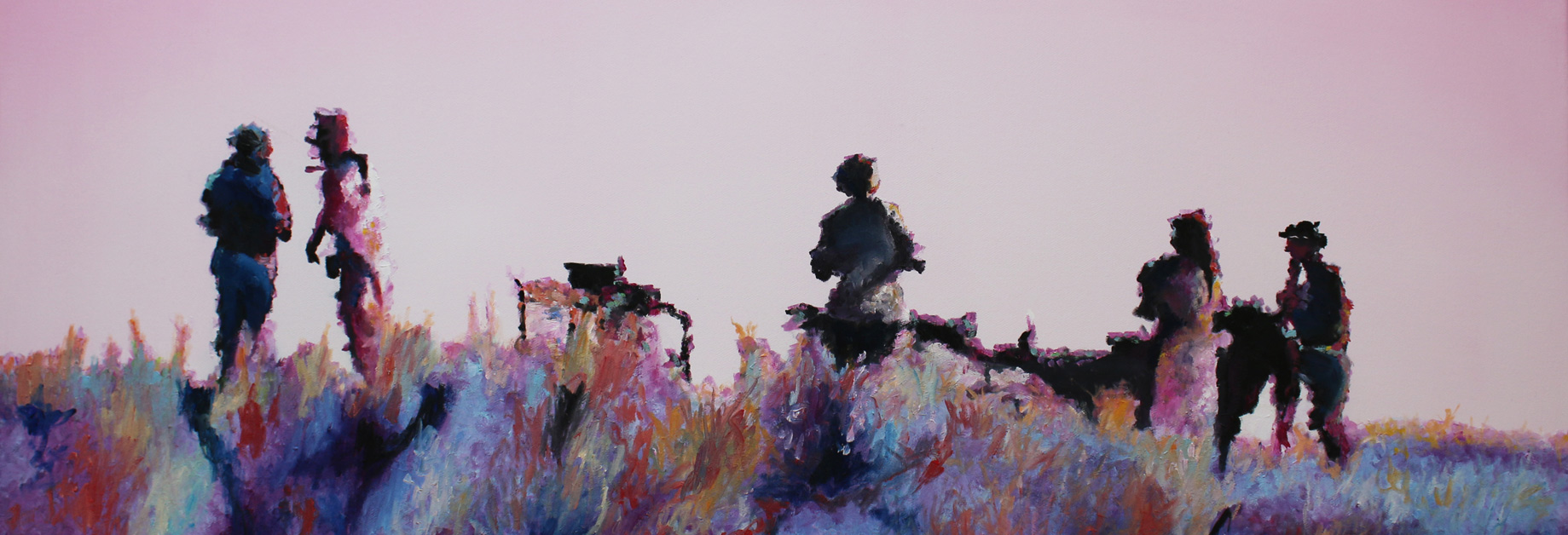 Pink Safari, 2018, Öl auf Leinwand, 40 x 120 cm