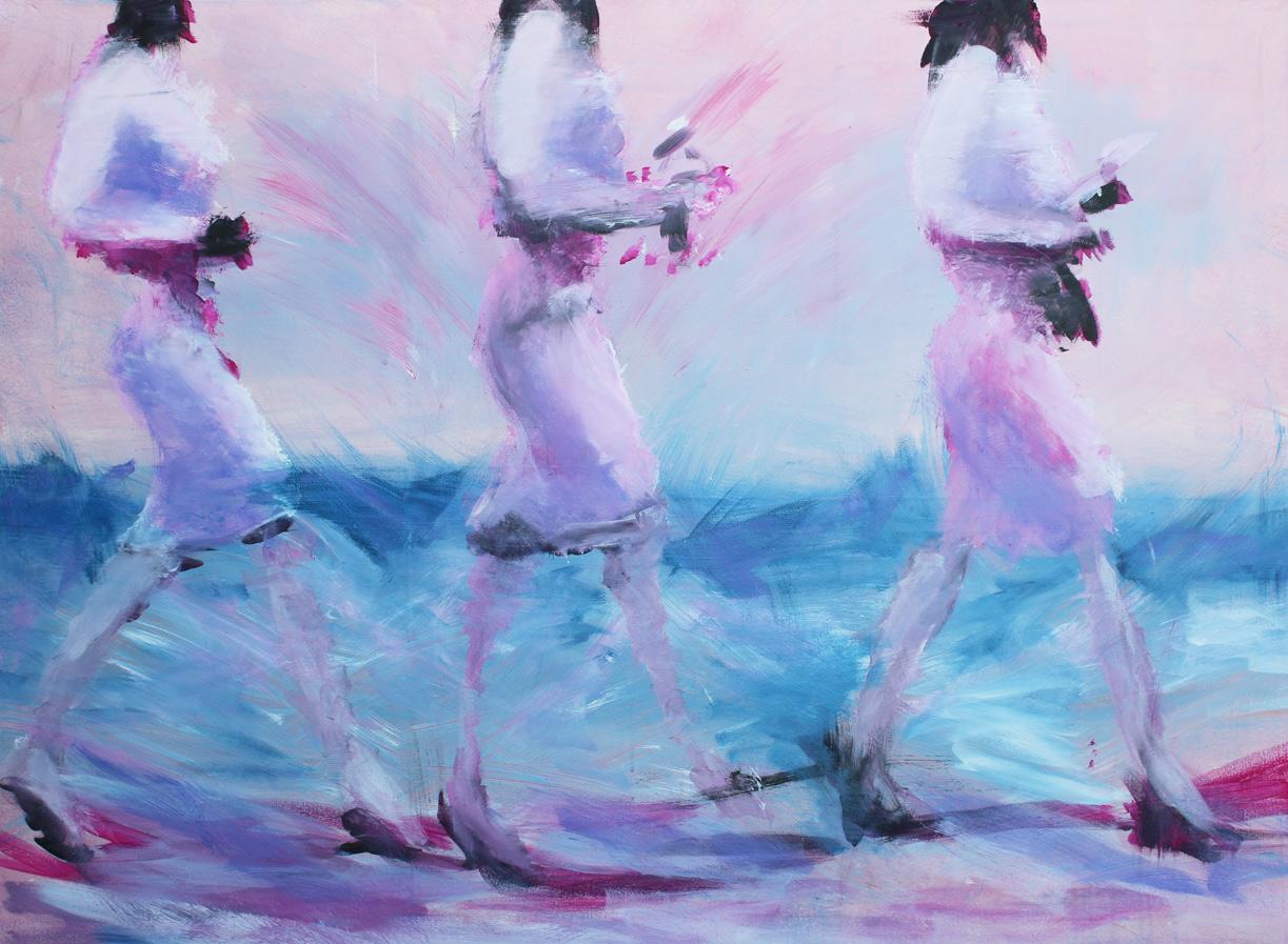 Three Women Pink, Öl auf Leinwand, 90 x 120 cm, 2016