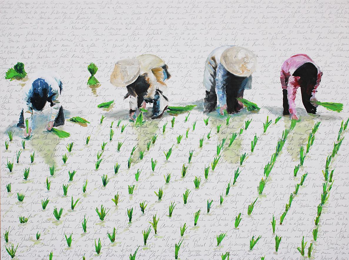 Reis auf Schrift, 2018, Öl und Bleistift auf Leinwand, 90 x 120 cm