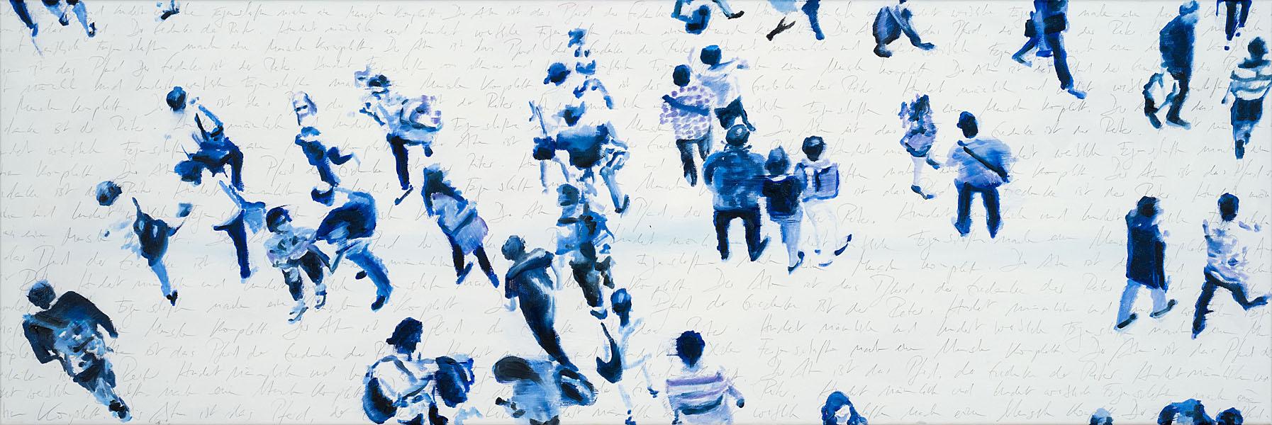 Allez les Bleus, 2018, Oil and pencil on canvas, 40 x 180 cm