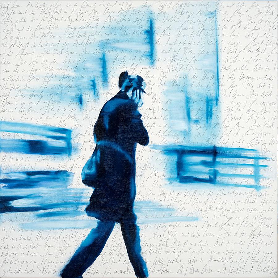 Calling Kerstin, Öl und Bleistift auf Leinwand, 70 x 70 cm 2019