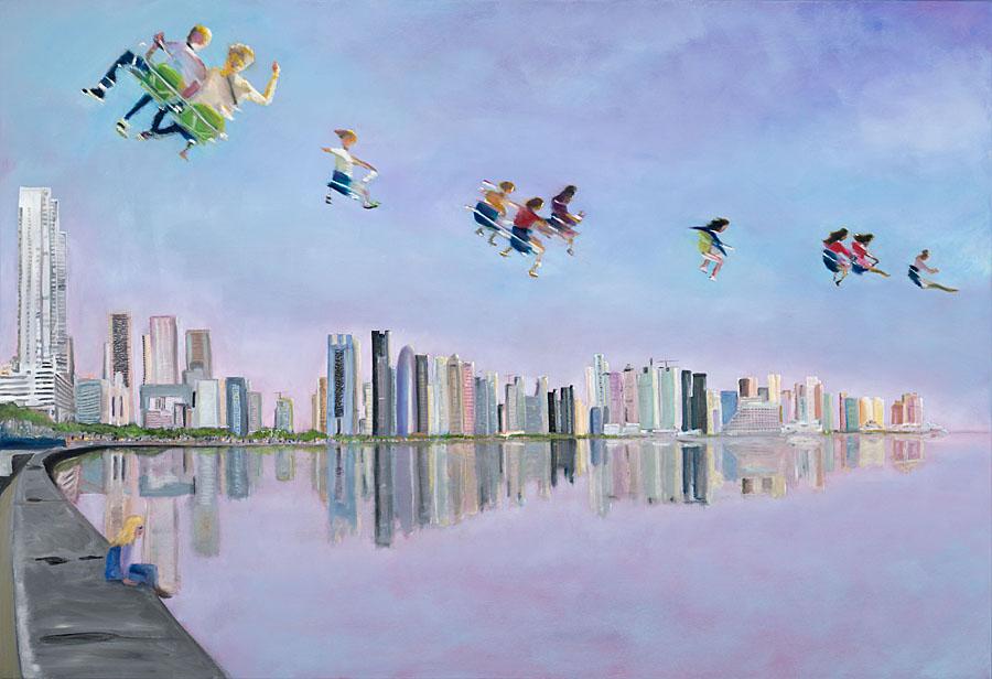 Doha!, Öl auf Leinwand, 130 x 190 cm, 2019