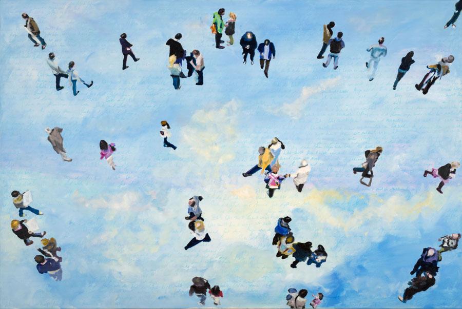 Heaven 43, Öl und Bleistift auf Leinwand, 120 x 180 cm, 2019